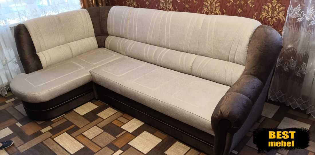 Перетяжка углового дивана ЖК Победа