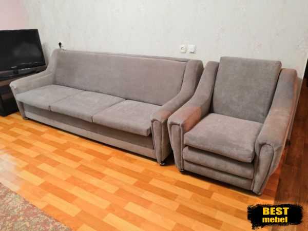 Перетяжка и ремонт дивана с креслом - Амирхана 91